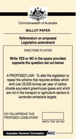 Carbon tax referendum form